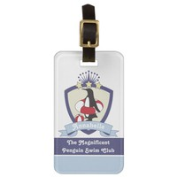 Cute Penguin Swimming Club Crest Personalized Kids Bag Tag