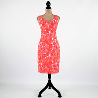 Sleeveless Cotton Dress Women Summer Dress Fitted Midi Floral Print Dress Ruched Small Medium Size 10 Adrianna Papell Womens Clothing