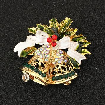 Gold-Toned Christmas Bell Crystal Brooch Pin