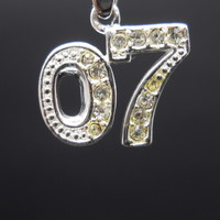 07 Pendant Crystal Sterling Silver 2007 Small 925 -