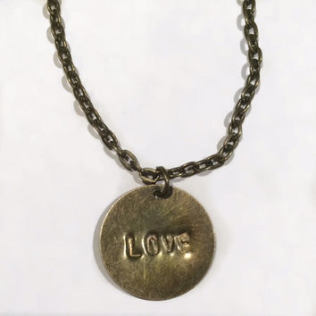 Hand Stamped Jewelry// Love Necklace// Vintage Bronze Disc Necklace