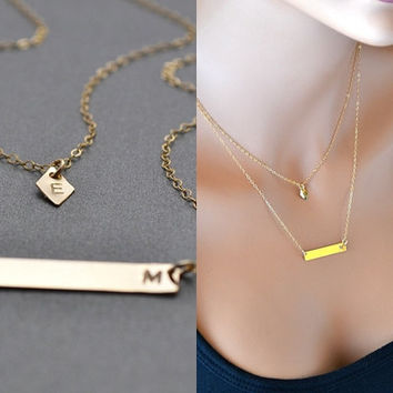 Layered Gold Bar Necklace, Personalized Necklace, Handstamped Gold Necklace, Two initial Necklace