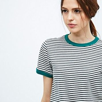 Cooperative Stripe Ringer Tee in Grey - Urban Outfitters