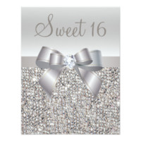 Printed Silver Sequins, Bow & Diamond Sweet 16 4.25x5.5 Paper Invitation Card