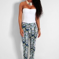 Chakra Multicolour Abstract Print Trousers | Pink Boutique