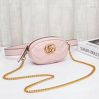 GUCCI Women Fashion New Leather Chain Leisure Shoulder Bag Waist Bag Pink