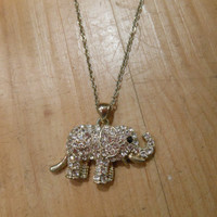 Elephant necklace with clear crystals - Elephant Necklace