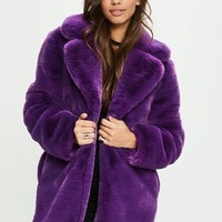 Missguided - Purple Faux Fur Coat With Collar