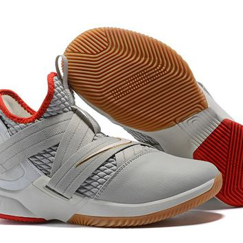 Nike LeBron Soldier 12 White/Red/Gold Sneaker