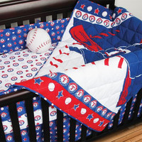 Texas Rangers MLB Micro Fiber Crib Set