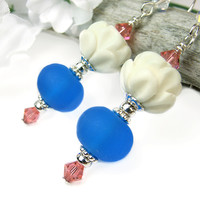 Lotus Earrings Blue Lampwork Carved Bone Crystals Sterling Handmade