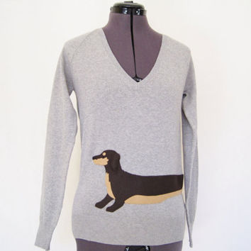 Wrapped Dachshund Sweater in heather gray
