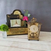 Schatz German Clock/ Schatz Lantern Style Anniversary Clock/ 400 Day Clock/ Collectible German Clock/ Brass Mantel Clock/ For Parts