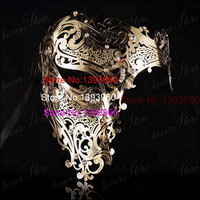 gold skull half face mask Spellbinding silver Masquerade Halloween scary mask Unisex Clear Rhinestones Large red laser cut mask