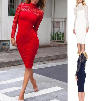 Vestidos Women's Dresses Spring Summer Dress Women Long Sleeves Lace Pure Color Tight Fitting Dress