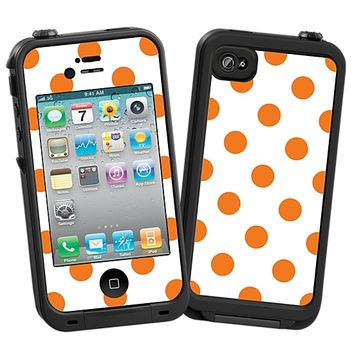 Orange Polka Dot on White Skin for the iPhone 4/4S Lifeproof Case by skinzy.com