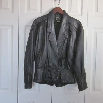 Vintage Leather Jacket, Cropped Black Leather Coat, Ladies Womens Small, Motorcycle Leather Jacket Biker Chick Soft Leather Black Jacket