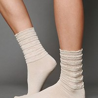 Free People Ruffle Satin Ankle Sock