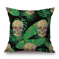 Tropical Skull and Bones 18 inch Throw Pillow Case