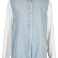 MOTO Chiffon Sleeve Denim Shirt - Tops - Clothing - Topshop USA