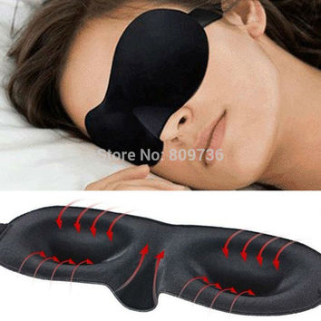 1X Travel Rest 3D Sponge Eye MASK Black Sleeping Eye Mask Cover for health care to shield the light Gift Ship
