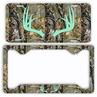 Mint Antlers Camo Deer License Plate Frame Car Tag Country Hunting