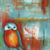 Fine Art Print 11x14 Orange Owl mixed media painting