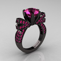 French 14K Black Gold 3.0 CT Pink Sapphire Engagement Ring, Wedding Ring R382-14KBGPSS