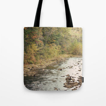 Art Tote Beach Bag In the Woods 2 photography green forest brown woods trees mother nature stream water scenic landscape lake fashion