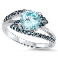 925 Sterling Silver CZ Designer Round Simulated Aquamarine and Simulated Sapphire Ring 9MM