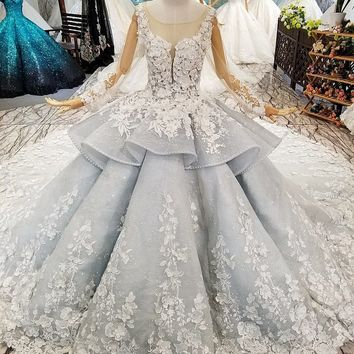 New Arrivals Lace Wedding Dress Ball Gown Royal Train Luxury Wedding Gowns Long Sleeve Bridal Dresses