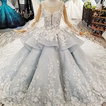 ef74c71fb8c4d New Arrivals Lace Wedding Dress Ball Gown Royal Train Luxury Wedding Gowns  Long Sleeve Bridal Dresses