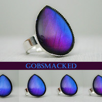 Gobsmacked Red to Blue Color Shifting Teardrop Ring