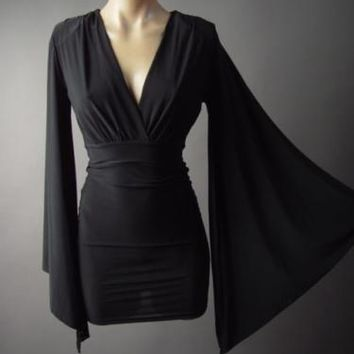 Black Kimono Angel Dagget Sleeve Wiccan Evening Cocktail Wrap 177 mv Dress S M L