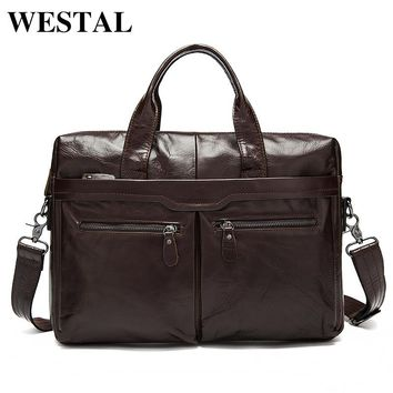 WESTAL Men Bag Genuine Leather Bag Men Crossbody Bags Messenger Men's Travel Shoulder Bags Tote Laptop Briefcases Handbags 9005