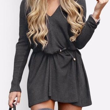 Grey V-Neck Long Sleeve Mini Dress