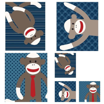 """Art for kids, matches lot of Sock Monkey bedding, Nursery, Toddler Room or Playroom Wall Art 8""""x10"""" Set of Three"""