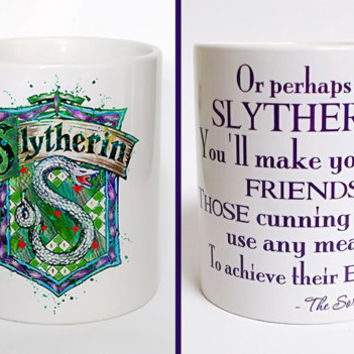 Harry Potter Slytherin crest quote 3 Mug  Slytherin crest Watercolor Art Cup Coffee Mug  Slytherin crest Cup Coffee Cup Harry Potter mug