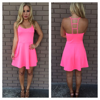 Hot Pink Ladder Back Dress