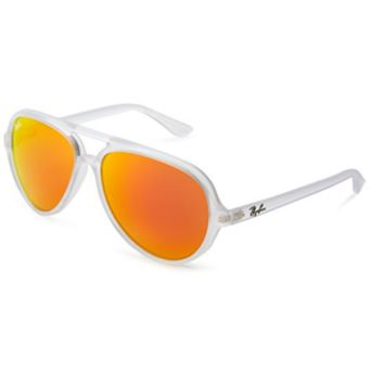 Ray Ban RB4125 646/69 Cats 5000 Sunglasses Matte Transparent Orange Mirror 59mm