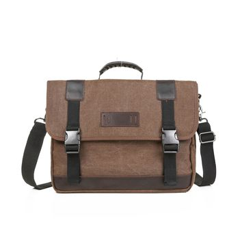 Vintage 14.7-inch Canvas Messenger Bag Military Shoulder Laptop Bag for Men