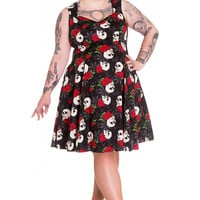 Hell Bunny Plus Size Gothic Beautiful Dark Side Queen Skull & Rose Flare Party Dress