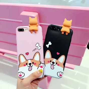 3D Cute Puppy Pet Toys Phone Cases Capa Corgi Dog Lying Mobile Phone Shell For iPhone 6Plus 6sPlus Cover Cartoon Back Fundas