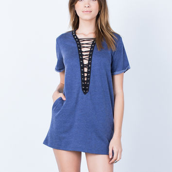 Denim Lace-Up Tunic Dress