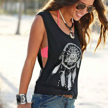 Fashion Casual Retro Feather Pattern Print Round Neck Sleeveless Vest Tops