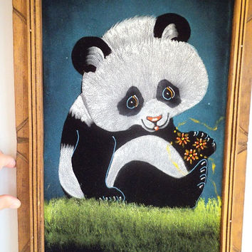 Vintage Hand painted PANDA on velvet ~ Signed Framed ~  Adorable Kitsch