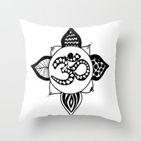Om Pattern Throw Pillow by Sarah Hinds