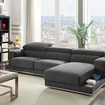 Acme 53720-23 2 pc Alwin dark gray fabric modular sectional sofa with chaise