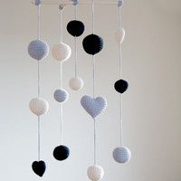 Crochet Balls/Hearts Baby Mobile - Grey/Black/Ivory Ball's Mobile(3-color mobile) - Boys/Girls room decoration - Hanging Room decor