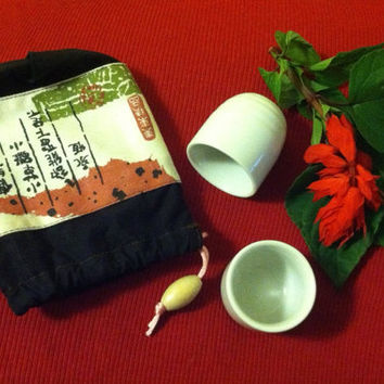 Sake Cup Set Vintage Japanese Porcelain White Sake Cups With Japanese Themed Cotton Storage Bag Ceramic Sake Set Traditional Asian Tea Cups